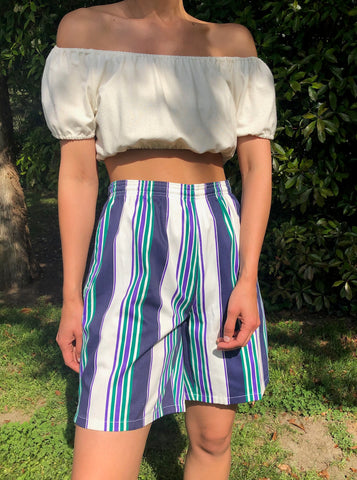 Vintage Striped Beach Easy Shorts