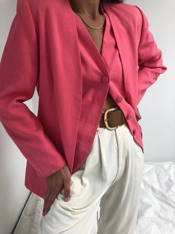Vintage Flamingo Vest And Blazer Set
