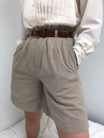 Vintage Light Taupe High Waisted Shorts