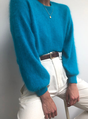 Vintage Turquoise Lambswool/Angora Pullover