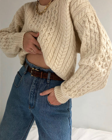 Vintage Cream Wool Knit Sweater