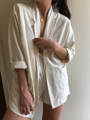 Na Nin Raw Silk Charlie Blazer / Available in Cream and Black