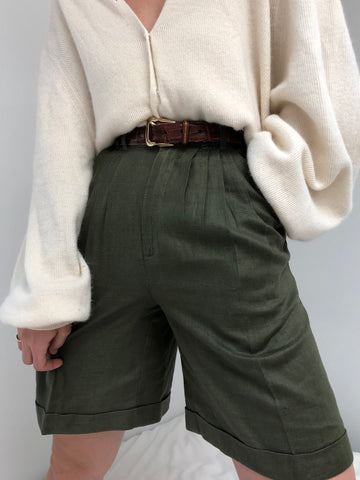 Vintage Sage Linen Pleated Shorts