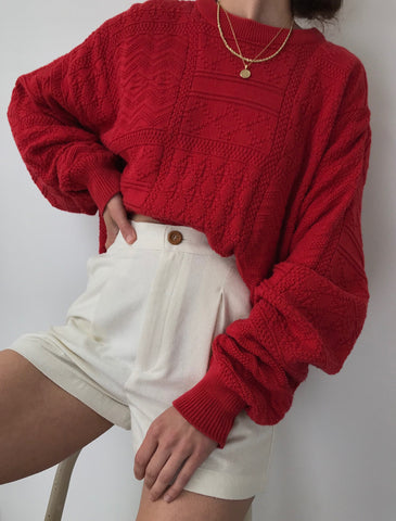 Vintage Tomato Knit Pullover