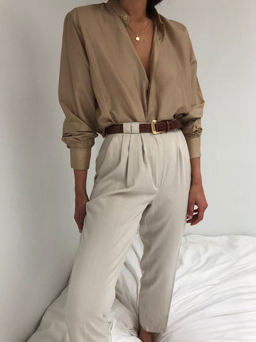 Vintage Light Sand High Waisted Trousers