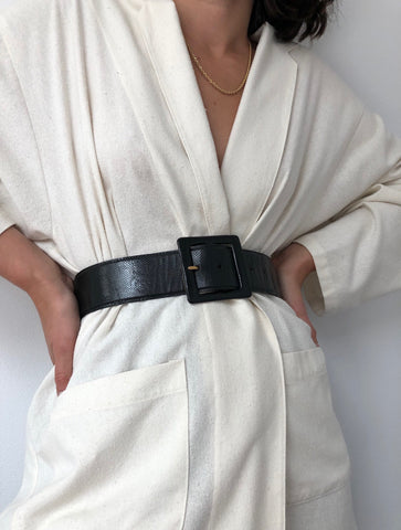 Vintage Onyx Leather Square Buckle Belt