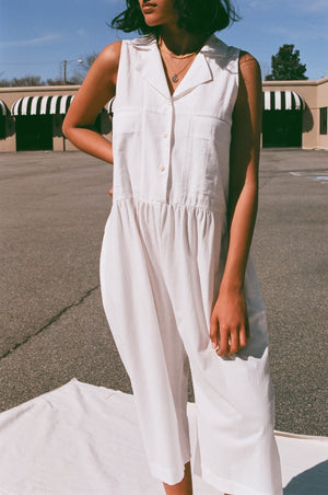 Ilana Kohn Violet Jumpsuit / Chalk Cotton