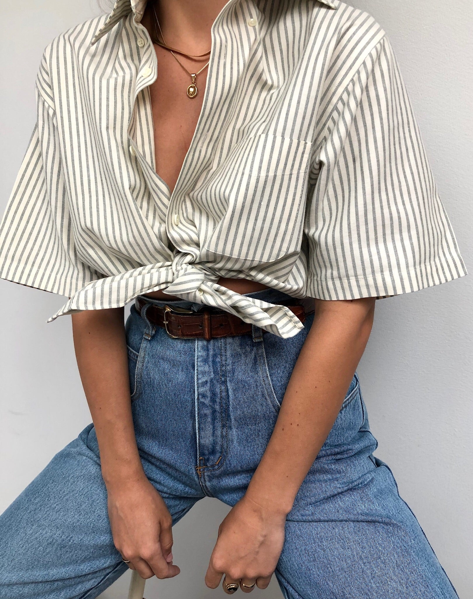 Vintage Sage Striped Button Up