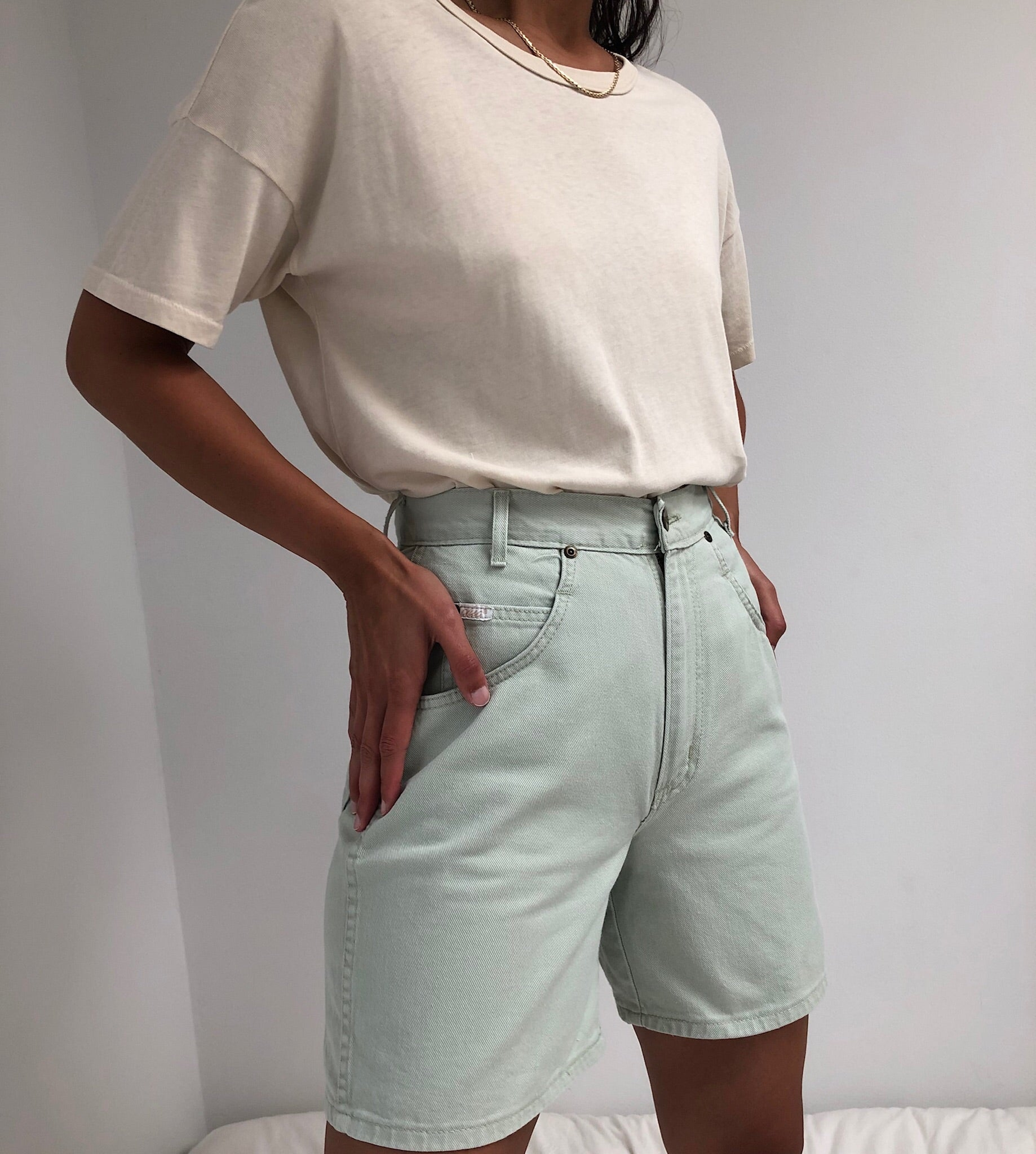 Vintage Light Sage Denim Shorts