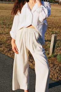 Ozma Crop Wide Leg Pant / Silk Noil / Available in Black and Natural