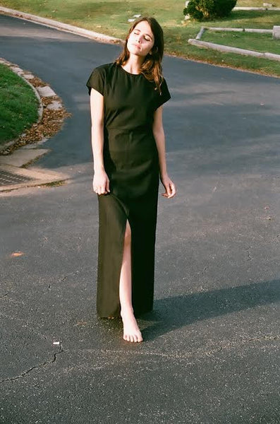 ALI GOLDEN RAW SILK MAXI DRESS / BLACK