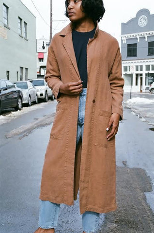 ESBY BARONNE LINEN DUSTER / CLAY