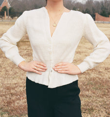 Vintage Pearl Button Cream Knit