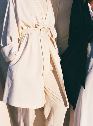 Na Nin Jane Raw Silk Robe Coat / Available in Cream & Black