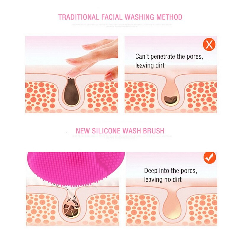 Silicone Facial Cleansing Brush Tools Exfoliating Blackhead Face Washing Soft Deep Cleaning Face Brushes for Women Skin Care