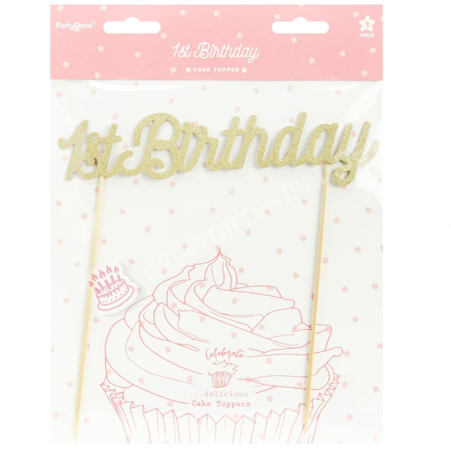 Partydeco Cake Topper 1. Geburtstag - Gold Cake-Topper