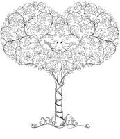 Blooming Trees - Beautiful Decorative Trees, Fruits in Ornamental Patterns, PDF Format Coloring Book