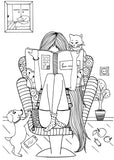 Bookworms - Book Lovers Coloring Book For Readers - Book Art  Rachel Mintz