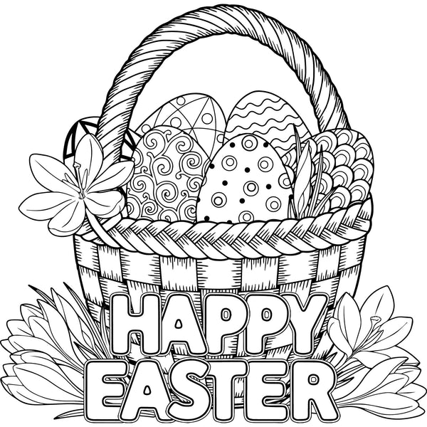 bunny  eggs  easter pdf coloring book for kids  rachel