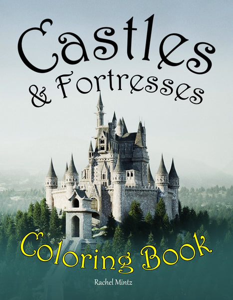 Castles & Fortresses - Grayscale Sketches, Gothic Architecture, Fairy Tale Castles, Medieval Palaces - Printable Coloring Book