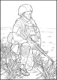 Combat Zone - Action Packed Military, PDF Coloring Book For Adults