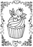 Cupcakes Feast - Large Print Coloring Book For Seniors or Visually Impaired Rachel Mintz