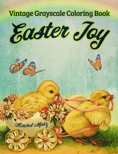 Easter Joy Now 20% SALE - Vintage Grayscale, 30 Beautiful Easter Egg Retro Art Scenes, Digital Book