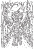 Elephants, PDF Coloring Book - The Largest African Animals in Relaxing Patterns