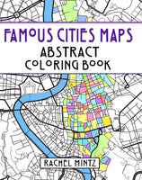 Famous Cities Maps - Abstract PDF Coloring Book With Relaxing Patterns - Rome, Paris, Jerusalem, New York City, Moscow