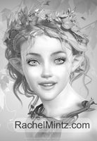 Gorgeous Fairies - 40 Fantasy Fairy Portraits in Grayscale Art, PDF Digital Coloring Book