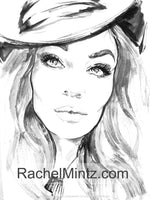 Gorgeous - Grayscale Portraits Watercolor Art, Printable Format Coloring Book