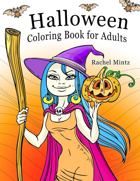 Halloween - Cute Witches, Pumpkins & Haunted Houses (PDF Format) Cloring Book for Adults
