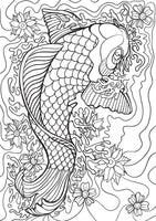 Koi Fish Pond - Japanese Gold Fish Coloring (PDF Book) For Adults