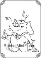 The Cute Elephant - Large Print Coloring Book, Clear Easy Designs, Bold lInes - Printable Format Book