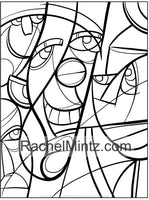 Large Print Cubism Faces - Color Picasso Style Pages For Seniors & Visually Impaired (Printable Format Book))