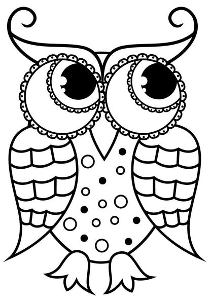 Large Print OWLS PDF Coloring Book For Beginners, Seniors Or Visually –  Rachel Mintz Coloring Books