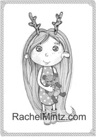 Love & Hugs Sweet Grayscale Coloring Book, Cute Girl And Her Adorable Friends (Printable Format Book)