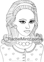 Luscious Hair Beauty - Beautiful Girls With Wavy Long Tempting Hairstyles Poses For Adults (PDF Coloring Book)