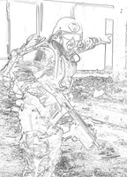 U.S.A Marines Grayscale Coloring Book - US Soldiers in Military Action