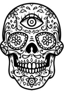 Mexican Skulls Coloring (PDF Book) - Sugar Skulls, Day of The Dead Designs