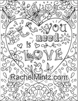 Happy Quotes - Motivational Coloring Book With Anti Stress Doodles To Brighten Your Day - PDF Format Book