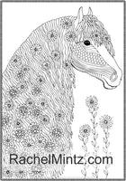 Noble Horses - Beautiful Detailed Sketches of Horses, Horse Mains in Decorated Pattern, PDF Coloring Books