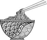 Noodles Doodles - Chinese Food Patterns – Stress Relieving Spaghetti Coloring (PDF Book)