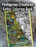 Pentagram Creatures - Dark Gothic Fantasy, Occult Tarot Cards Coloring Book