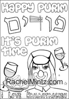 Purim Time - Coloring & Activity Book For Kids, Esther Scroll Figures, Hebrew Text, Crowns (Digital Format Book)
