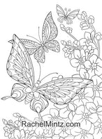 Rainbow Wings - Butterflies and Flowers Coloring (PDF Book) For Adults