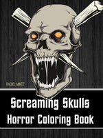 Screaming Skulls - Scary Gothic Tattoo Skulls, Gore Skull Designs - PDF Coloring Book