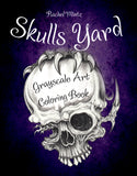 Skulls Yard - Greyscale Tattoos Designs Coloring Book For Adults