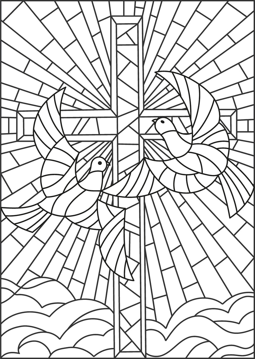Religious & Abstract Stained Glass PDF Coloring Book ...
