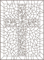 Religious & Abstract Stained Glass PDF Coloring Book - Angelic Christian Designs, Mosaic Cross Patterns, Jewish & Abstract Windows